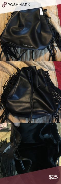 NWT- VS. Black faux leather Fringe backpack 🎒 Checkout my closet. I have a variety of new items and barley used items. This is a beautiful limited edition black faux leather fringe backpack by VS. ❌no offers❌ Victoria's Secret Bags Backpacks