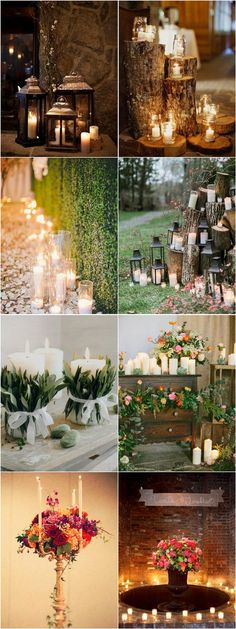 shabby chic wedding decoration ideas with candles