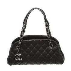 Chanel Black Quilted Caviar Leather Just Mademoiselle Mini Bowling Handbag