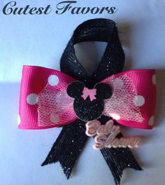 Minnie Mouse baby shower guest pins black and pink by CutestFavors