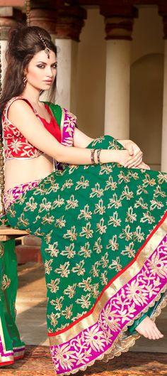122713: Green color family Wedding Lehngas.