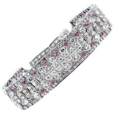 For Sale on - A century platinum, diamond and ruby bracelet. The slightly graduated flexible bracelet has a row of 44 marquise-cut diamonds with an approximate Modern Jewelry, Vintage Jewelry, Fine Jewelry, Jewelry Box, Antique Bracelets, Antique Rings, Link Bracelets, Jewelry Bracelets, Bangles