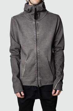 Thom/Krom | Raw hooded sweat jacket | Grey Oil