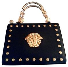14cad3ce66c8 Versace Medusa Goldtone Hardware Vintage Black Leather Shoulder Bag