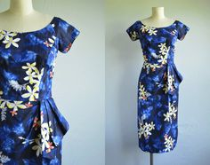 Vintage 50s Hawaiian Dress / 1950s Sarong Wrap by zestvintage