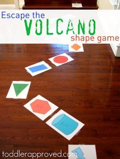 Escape the Volcano Shape Game. Great for those active learners! Race away from the volcano and practice shapes, colors, counting... tons of preschool skills!