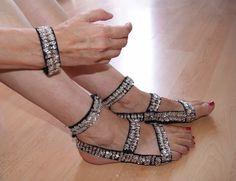 Voet versiering ZWART elastisch met ZILVEREN pailletten + bijpassende armband… Foot cuff tribal fusion