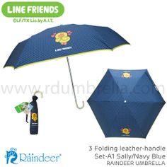 ร่มพับ 3 ตอน ด้ามหนัง ด้ามงอ Line Umbrella (ร่มสติ๊กเกอร์ไลน์) Line id: rdumbrella หรือ portrain www.rdumbrella.com