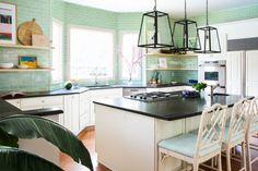 Jana Bek's California Cool Kitchen Green Kitchen Inspiration, Kitchen Tiles, Kitchen Design, Fireclay Tile, All White Kitchen, Kitchen Installation, California Cool, Countertop Materials, Home Trends