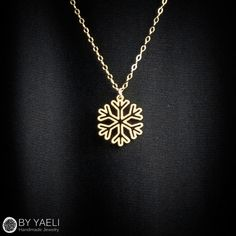 Tiny necklace, snowflake necklace, unique necklace, gold necklace,... (1,500…