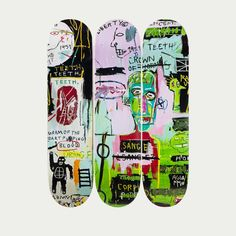 View this item and discover similar for sale at - Skateboard Deck Triptych licensed by the Estate of Jean Michel Basquiat in conjunction withArtestar in featuring offset imagery of the much iconic Custom Skateboard Decks, Painted Skateboard, Skateboard Deck Art, Custom Skateboards, Skateboard Design, Cool Skateboards, Longboard Design, Jean Michel Basquiat, Ville New York