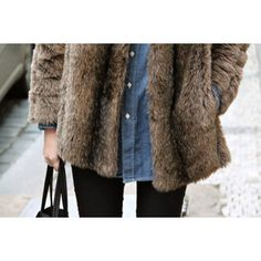 Fur Coat, Denim Button Up, Denim Jeans, Black