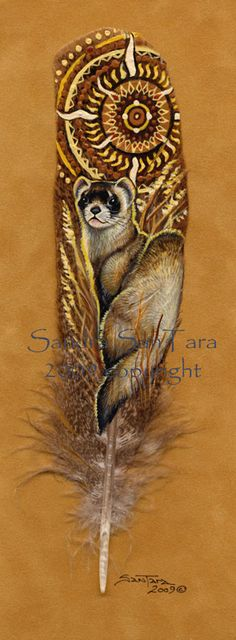 In Dawns Light -- Black footed ferret painted feather print by Windwolf Studio