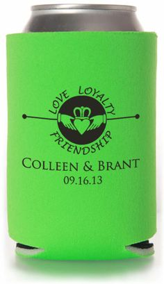 Wedding Designs using famous wedding quotes!  This item has 6 different koozie product options to customize: Collapsible Foam, Bottle Sleeve, Can Sleeve, Zippered Bottle, Indestructible Foam & Neoprene! #wedding #koozies #favors #neoprene #bottlekoozies