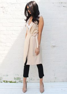 Tailored Sleeveless Belted Duster Jacket in Cream