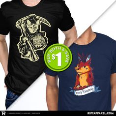 """Get """"Sons of Catarchy"""" from artist DiHA and """"Such Fantasy"""" from artist drawsgoodart today only, April 27, for $10 at RIPT Apparel. www.riptapparel.com"""