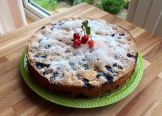 Charlotte with cherries and blueberries