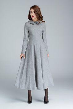 clair+robe+gris+robe+plissée+robe+taille+haute+robe+par+xiaolizi