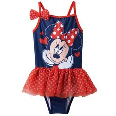 Disney's Minnie Mouse Tutu One-Piece Swimsuit, 2T Featuring a perky polka-dotted tutu and a matching attached bow, this girls' Minnie Mouse swimsuit is absolutely adorable. In navy/red.   Minnie Mouse & heart graphics Spaghetti straps UPF +50 sun protection. Size 2T Disney Accessories