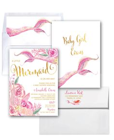 Mermaid Baby Shower Invitation // Under the Sea Invitation // Watercolor // Gold // Floral // Girls // Pink // QUEENSLAND COLLECTION by MerrimentPress on Etsy https://www.etsy.com/listing/486376367/mermaid-baby-shower-invitation-under-the