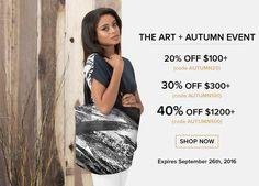 "❤<br />Hi friends!<br /><br /> Enjoy the promotion ""Art + Autumn Event"" that expires September 26th, 2016:<br /><br /> Here are the details of the Art + Autumn Event:<br /><br /> 20% off $100+ (with code AUTUMN20)<br /> 30% off $300+ (with code AUTUMN100)<br /> 40% off $1200+ (with code AUTUMN500) <br />DO NOT MISS THIS OPPORTUNITY!<br />❤<br /><br />"