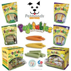 Pegetables® are nutritious and delicious premium dental dog chew treats made with real vegetables. Made from natural ingredients, Pegetables® provide dogs with the daily beneficial supplements derived from real vegetables to help them live longer and healthier lives.   Pegetables® are fortified with antioxidants, vitamins, minerals, essential omega  fatty acids, protein, fiber, calcium, and vitamins A, B, C, D, & E.   Pegetables® chew treats are available in three   CARROT - CORN - CELERY
