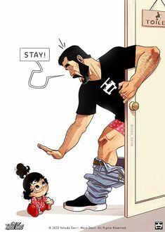 Funny-Parenting-Comics-Yehuda-Devir Love Cartoon Couple, Cute Couple Comics, Couples Comics, Cute Couple Art, Funny Couples, Cute Comics, Funny Comics, Yehuda Devir, Relationship Comics