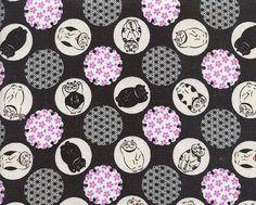 Medallions of Cats Sashiko Flowers: Japan Imported by AsianFabrics