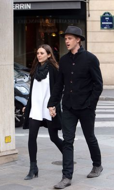 ELIZABETH OLSEN and Boyd Holbrook Out in Paris