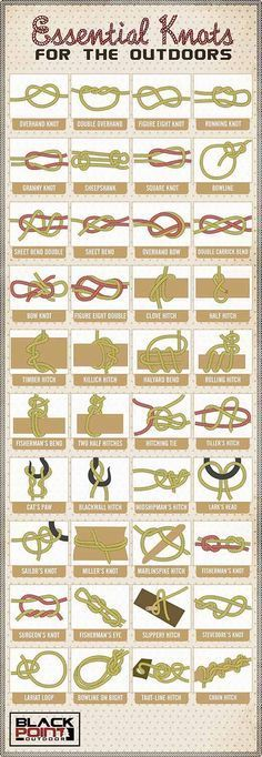 40 Essential Knots Every Survivalist Needs to Know | How To Tie Knots For Fishing, Hiking, Camping, see more at http://survivallife.com/2016/01/04/40-essential-knots/: