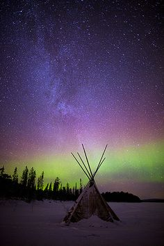 Lappish Teepee and Northern Lights Sky