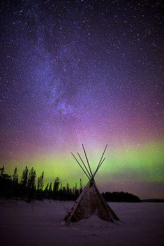 Lappish Teepee and Northern Lights Sky