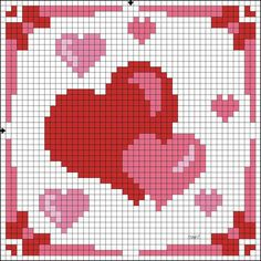 Cross-stitch Hearts biscornu ... no color chart available, just use the pattern chart as your color guide.. or choose your own colors...    ....A PUNO DE CRUZ | Aprender manualidades es facilisimo.com