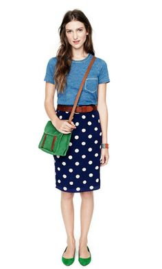 Madewell '12  how hard would it be to sew up a polka dot pencil skirt? ( a little more pencil please, and it would be perfect) wearing a purse across the chest can be immodest.
