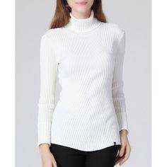 Graceful Turtleneck Long Sleeve White Slimming Women's Knitwear