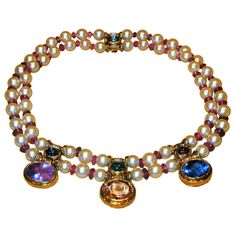 BVLGARI Sapphire Pearl Ruby and Emerald Necklace