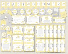 Elephant Chevron Yellow Gray Theme Complete by PixieBabyShower Diaper Raffle, Gift Table, Gender Neutral, Shower Ideas, Chevron, Favors, Elephant, Packaging, Baby Shower
