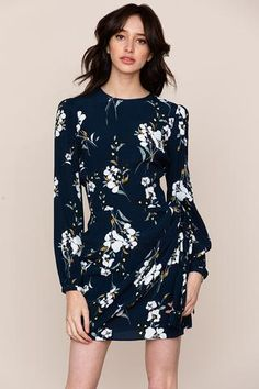 Our Tie Me Over Floral Print Shift Dress is a new take on the classic shift silhouette. Details include wrap tie at front waist of skirt, long blouson sleeves, and hidden zip closure at side seam. Fall Collections, Floral Prints, Tie, Casual, Skirts, Model, Sleeves, How To Wear, Clothes