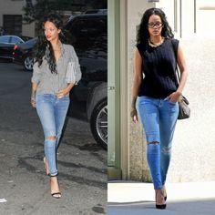 les deux outfits de Rihanna avec des jeans déchirés