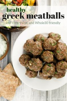 Healthy Greek Meatballs - Slender Kitchen. Works for Clean Eating, Gluten Free, Low Carb, Paleo, Weight Watchers® and Whole30® diets. 226 Calories.