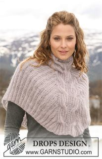 "Winter Dream - Short DROPS poncho in 2 threads ""Kid-Silk"" with rib and cables. Size S-XXXL. - Free pattern by DROPS Design"