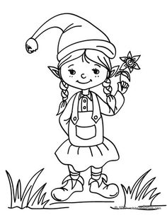 cute little girl Elf Coloring Pages - Enjoy Coloring