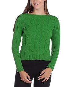 Look what I found on #zulily! Pistachio Green Cable Knit Sweater #zulilyfinds
