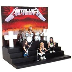 Metallica Master Of Puppets Smiti Figure Playset by Stevenson Entertainment. $34.99. Brand new and factory sealed.. Great collector's item.. Metallica Master of Puppets action figure box set with stage!  Included in this 25 piece set is: 4 Smiti figures - James Hetfield, Lars Ulrich, Kirk Hammett, Cliff Burton, stage, backdrop, 4 crosses, 2 guitars, bass, 4 cymballs with stands, high-hat cymbal, 4 piece drum set, 2 drumsticks, and microphone.. Save 13% Off!