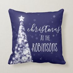 Family Name Christmas Sparkling Trees Navy Blue Throw Pillow - tap to personalize and get yours #ThrowPillow #christmas, #xmas, #festive, #winter, #for Navy Blue Throw Pillows, Blue Throws, Accent Pillows, French Country Christmas, White Christmas, Xmas, Blue Christmas Tree Decorations, Blue And Silver, Blue And White