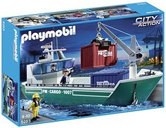 PLAYMOBIL Cargo Ship with Loading Crane  Transport by sea with the Cargo Ship with Loading Crane. The floating ship's rotating and adjustable crane with container clamp makes it easy to safely convey heavy cargo on and off board. Take control of the bridge through the cabin's removable roof and weigh anchor with the winch at the bow of the boat  http://nice4kids.com/shop/playmobil-cargo-ship-with-loading-crane/