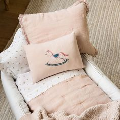 LINEN QUILT AND CUSHION COVER WITH HEART EMBROIDERY AND LACE TRIM| - Quilts - Bedroom | Zara Home United Kingdom