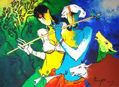 Krishna Abstract Paintings   Abstract Paintings: Abstract Painting Of Lord Krishna