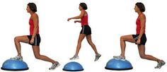 These are great not only to strengthen and tone your butt and quads but they also hit your intrinsic muscles for balancing and you can get some core strength and cardio in too! Make sure to have great technique: keep your front kne Bosu Workout, Quad Exercises, Bosu Ball, Core Stability, Cardio Routine, Weight Loss Inspiration, Total Body, Fitness Tips, Exercises