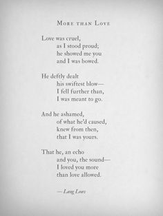 More Than Love~Lang Leav
